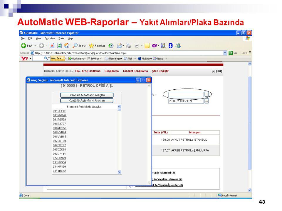 AutoMatic WEB-Raporlar – Yakıt Alımları/Plaka Bazında