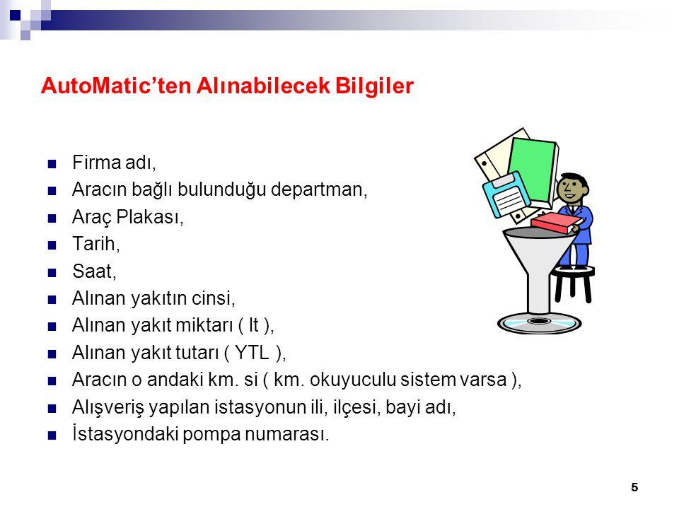 AutoMatic'ten Alınabilecek Bilgiler