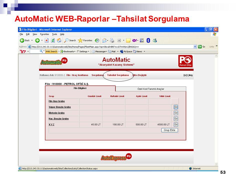 AutoMatic WEB-Raporlar –Tahsilat Sorgulama