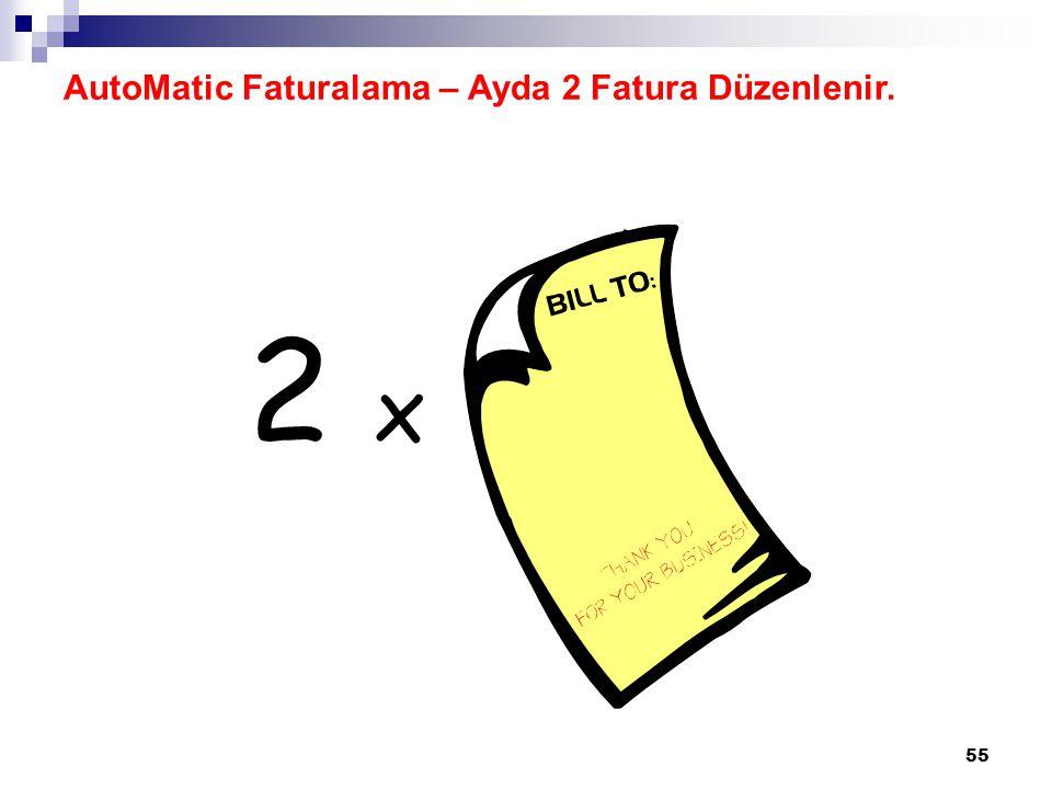 AutoMatic Faturalama – Ayda 2 Fatura Düzenlenir.