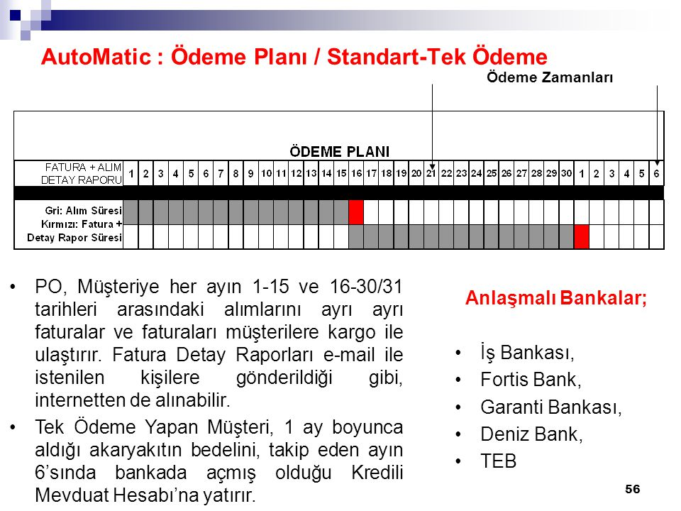 AutoMatic : Ödeme Planı / Standart-Tek Ödeme