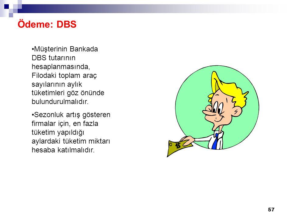 Ödeme: DBS Müşterinin Bankada DBS tutarının hesaplanmasında, Filodaki toplam araç sayılarının aylık tüketimleri göz önünde bulundurulmalıdır.