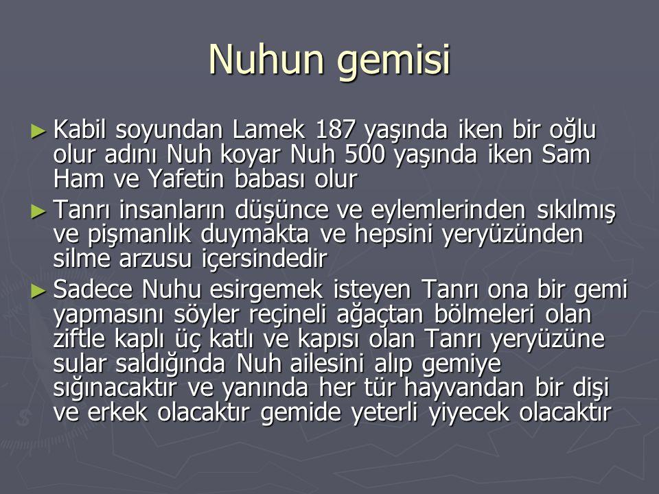 Nuhun gemisi Kabil soyundan Lamek 187 yaşında iken bir oğlu olur adını Nuh koyar Nuh 500 yaşında iken Sam Ham ve Yafetin babası olur.