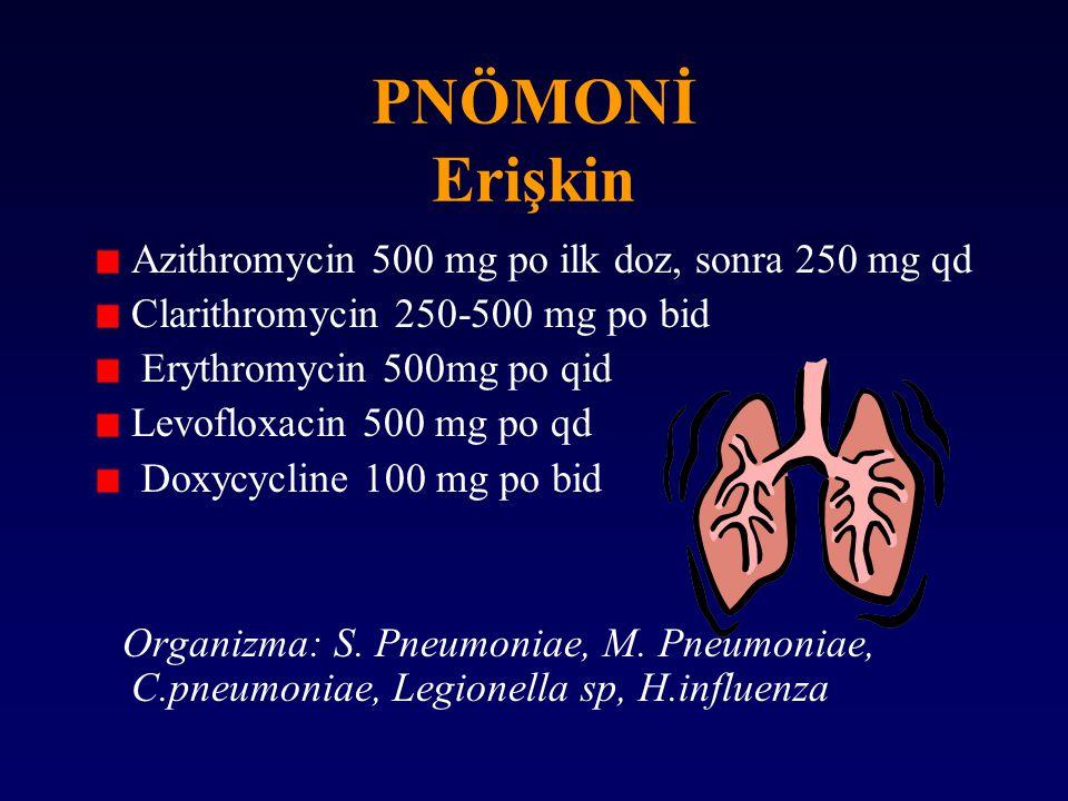PNÖMONİ Erişkin Azithromycin 500 mg po ilk doz, sonra 250 mg qd