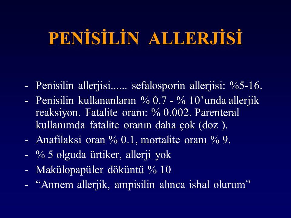 PENİSİLİN ALLERJİSİ Penisilin allerjisi...... sefalosporin allerjisi: %5-16.
