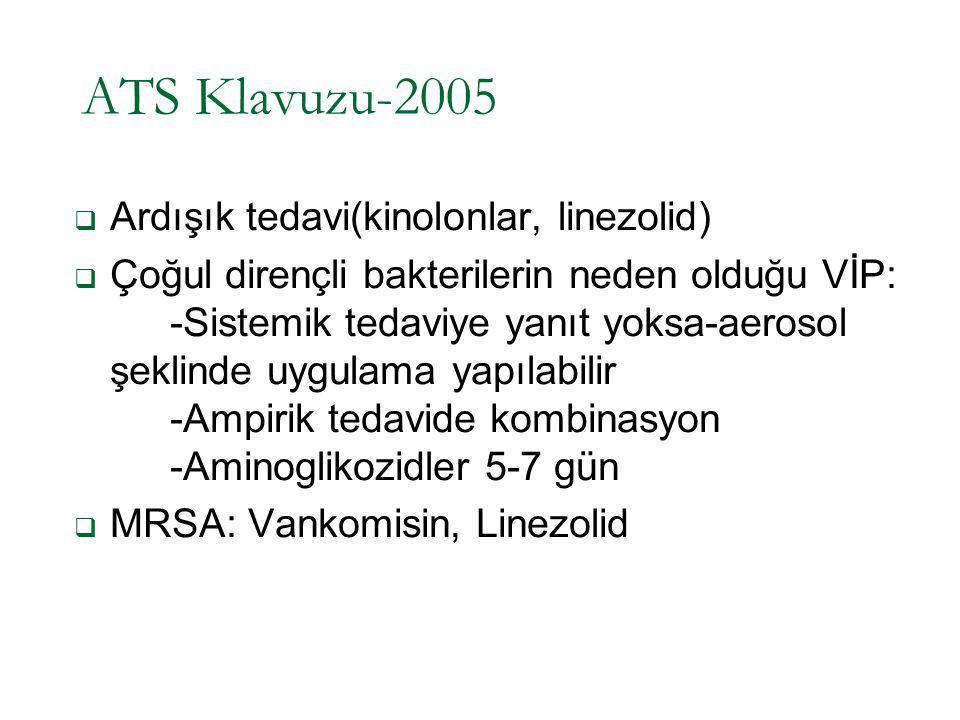 ATS Klavuzu-2005 Ardışık tedavi(kinolonlar, linezolid)