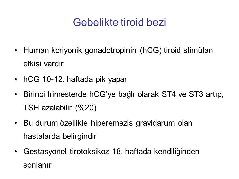 Gebelikte tiroid bezi Human koriyonik gonadotropinin (hCG) tiroid stimülan etkisi vardır. hCG 10-12. haftada pik yapar.