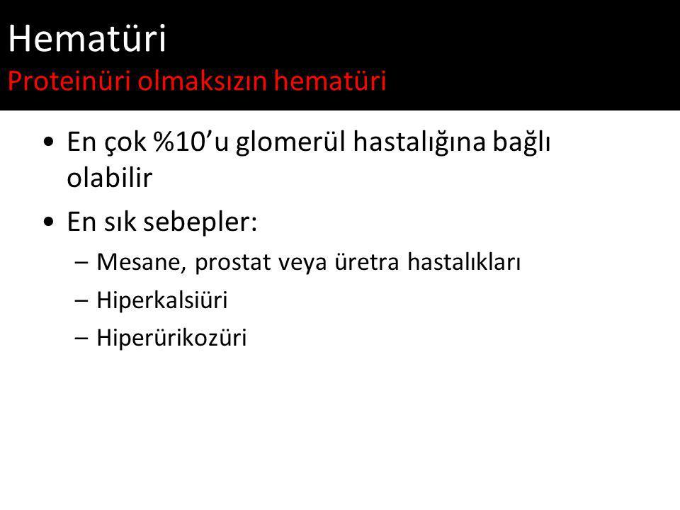 Hematüri Proteinüri olmaksızın hematüri