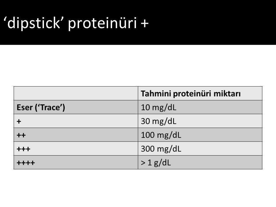 'dipstick' proteinüri +