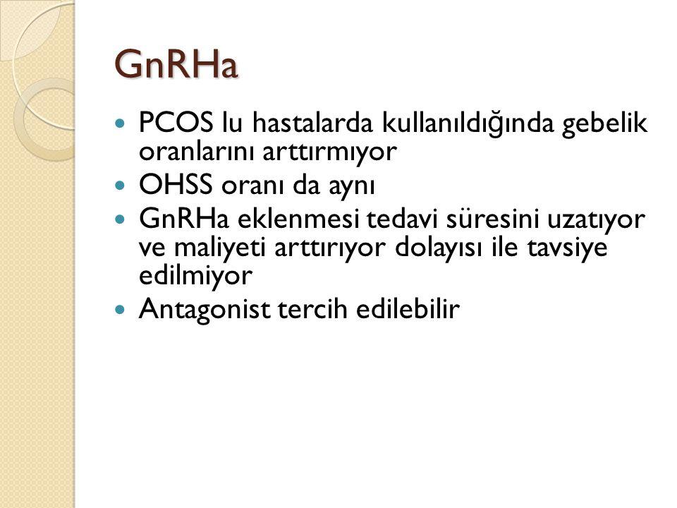 GnRHa PCOS lu hastalarda kullanıldığında gebelik oranlarını arttırmıyor. OHSS oranı da aynı.