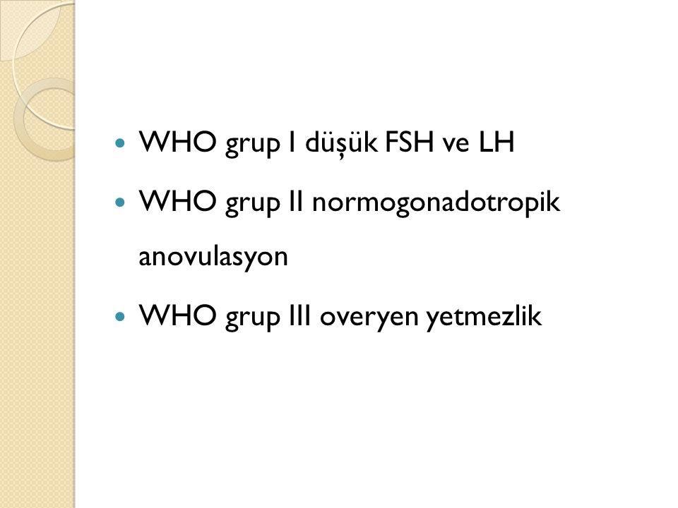 WHO grup I düşük FSH ve LH