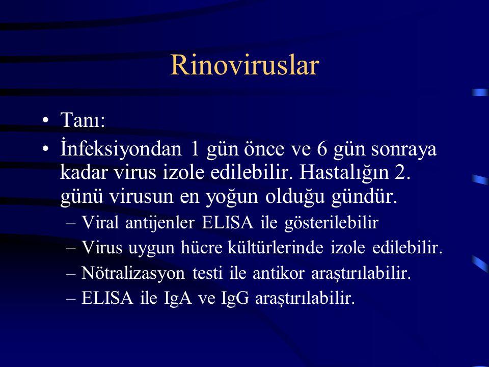 Rinoviruslar Tanı: İnfeksiyondan 1 gün önce ve 6 gün sonraya kadar virus izole edilebilir. Hastalığın 2. günü virusun en yoğun olduğu gündür.
