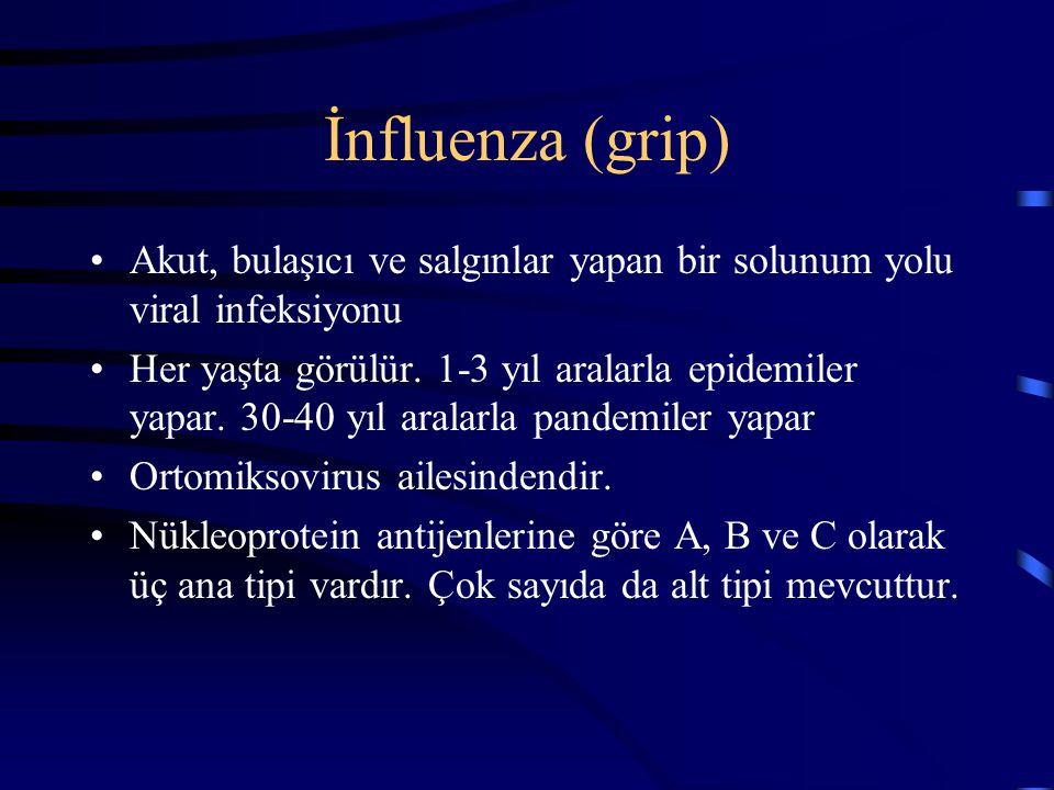 İnfluenza (grip) Akut, bulaşıcı ve salgınlar yapan bir solunum yolu viral infeksiyonu.
