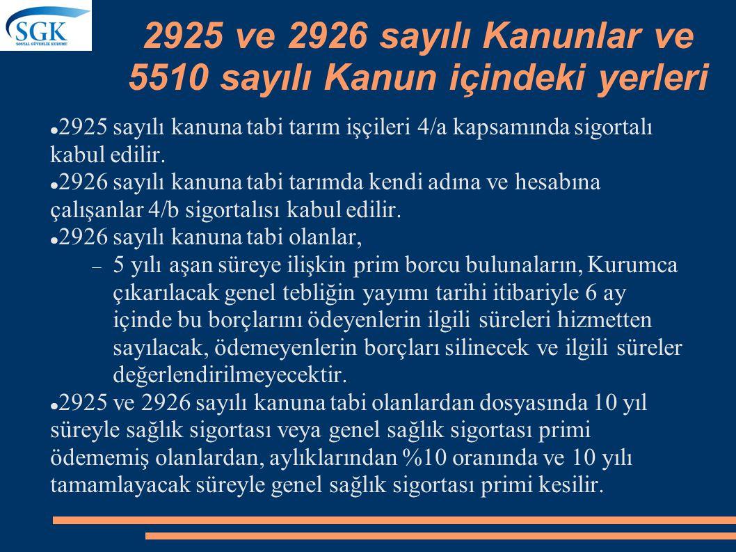 2925 ve 2926 sayılı Kanunlar ve 5510 sayılı Kanun içindeki yerleri