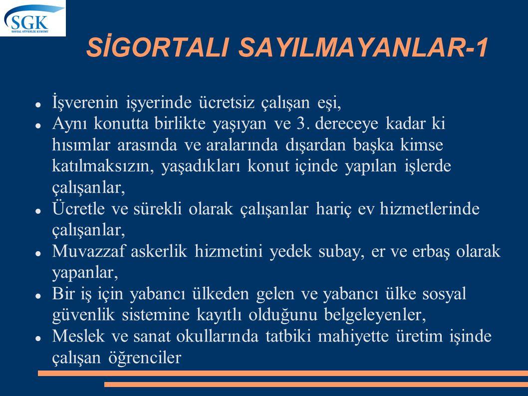 SİGORTALI SAYILMAYANLAR-1