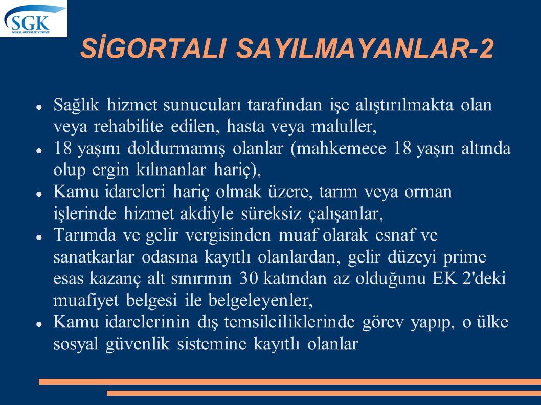 SİGORTALI SAYILMAYANLAR-2
