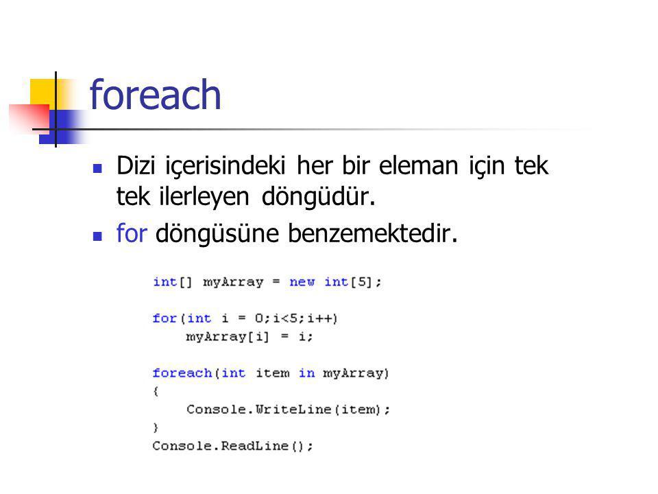 foreach Dizi içerisindeki her bir eleman için tek tek ilerleyen döngüdür.