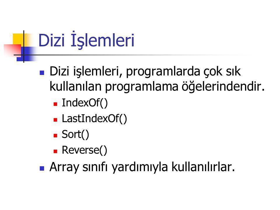 Dizi İşlemleri Dizi işlemleri, programlarda çok sık kullanılan programlama öğelerindendir. IndexOf()