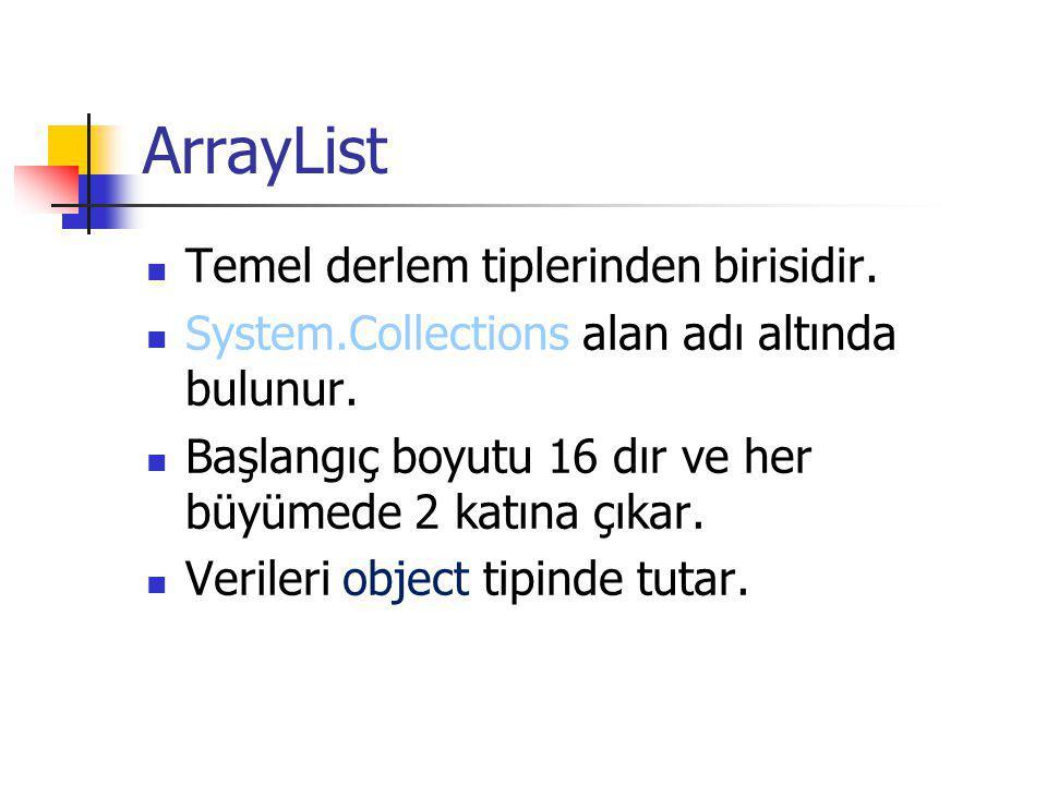 ArrayList Temel derlem tiplerinden birisidir.