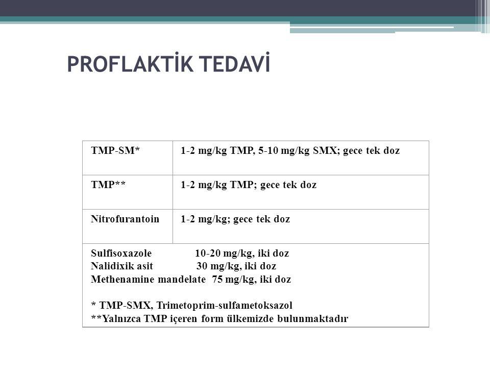 PROFLAKTİK TEDAVİ TMP-SM* 1-2 mg/kg TMP, 5-10 mg/kg SMX; gece tek doz