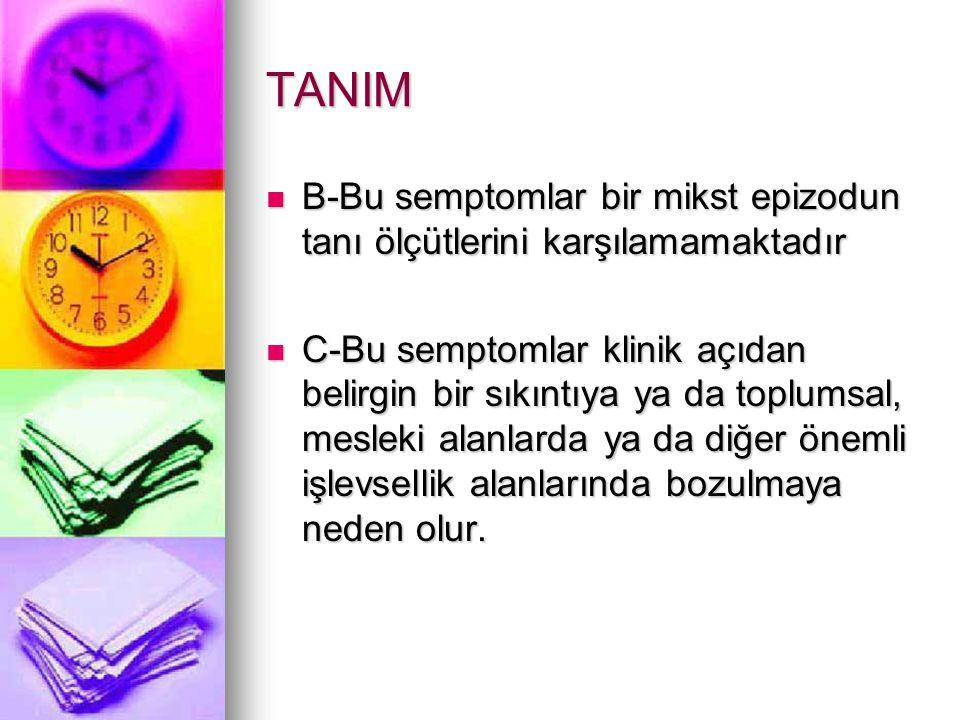 TANIM B-Bu semptomlar bir mikst epizodun tanı ölçütlerini karşılamamaktadır.