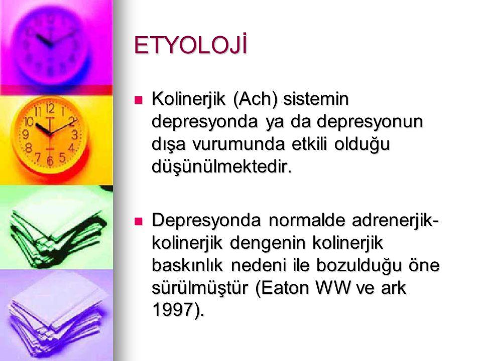 ETYOLOJİ Kolinerjik (Ach) sistemin depresyonda ya da depresyonun dışa vurumunda etkili olduğu düşünülmektedir.