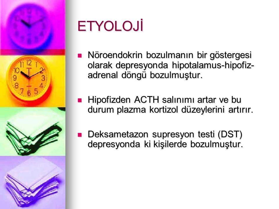 ETYOLOJİ Nöroendokrin bozulmanın bir göstergesi olarak depresyonda hipotalamus-hipofiz-adrenal döngü bozulmuştur.