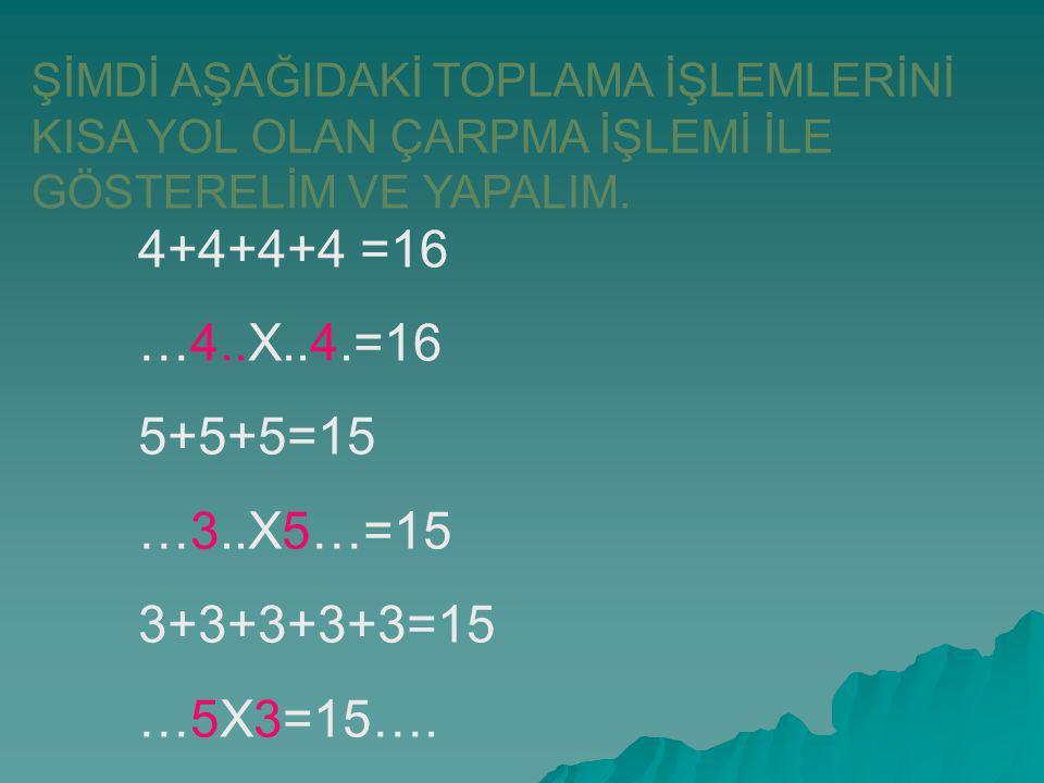 4+4+4+4 =16 …4..X..4.=16 5+5+5=15 …3..X5…=15 3+3+3+3+3=15 …5X3=15….