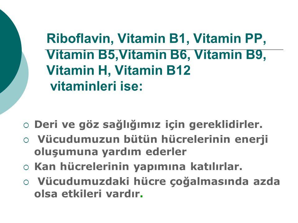 Riboflavin, Vitamin B1, Vitamin PP, Vitamin B5,Vitamin B6, Vitamin B9, Vitamin H, Vitamin B12 vitaminleri ise: