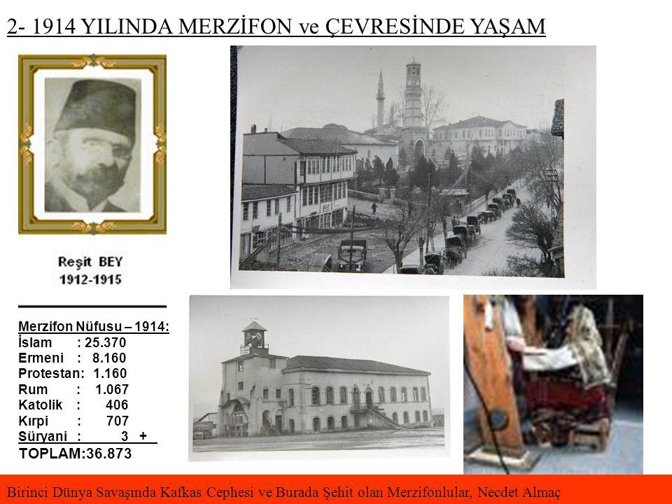 2- 1914 YILINDA MERZİFON ve ÇEVRESİNDE YAŞAM