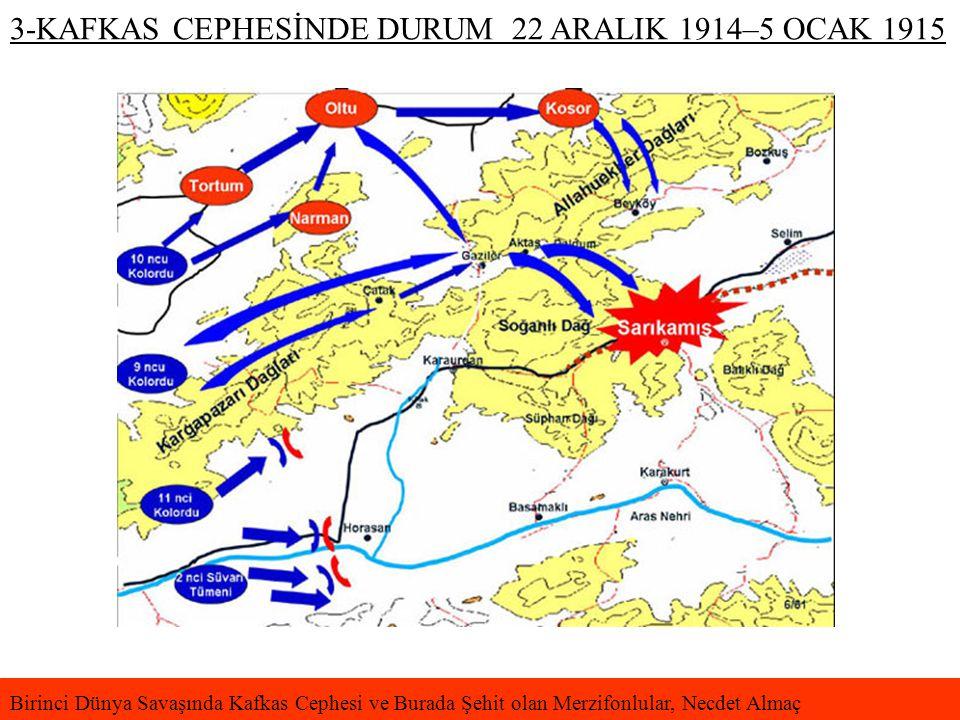 3-KAFKAS CEPHESİNDE DURUM 22 ARALIK 1914–5 OCAK 1915