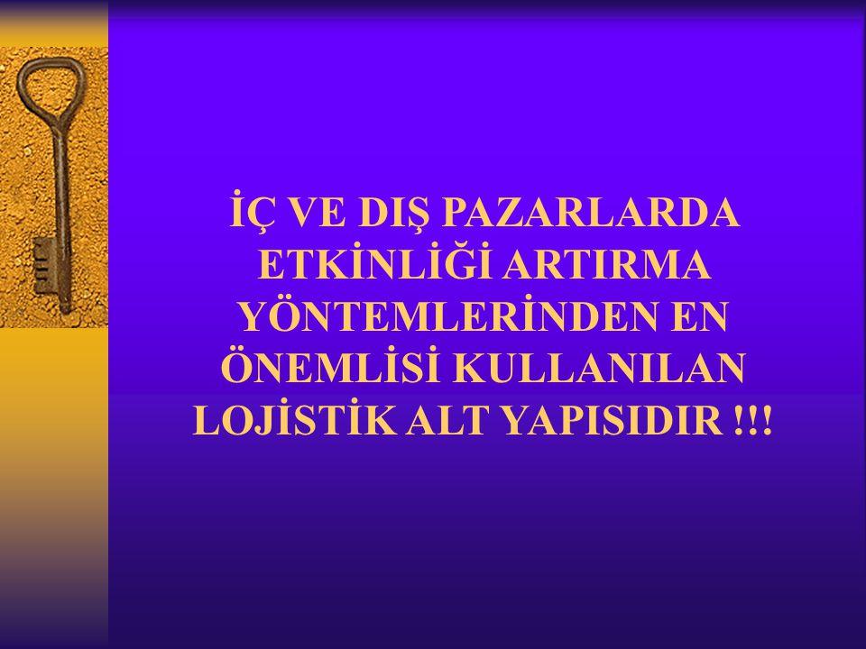 İÇ VE DIŞ PAZARLARDA ETKİNLİĞİ ARTIRMA YÖNTEMLERİNDEN EN ÖNEMLİSİ KULLANILAN LOJİSTİK ALT YAPISIDIR !!!
