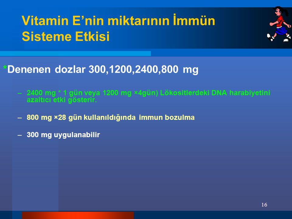 Vitamin E'nin miktarının İmmün Sisteme Etkisi