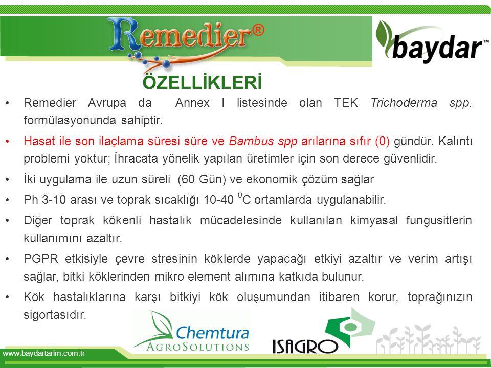 ® ÖZELLİKLERİ. Remedier Avrupa da Annex I listesinde olan TEK Trichoderma spp. formülasyonunda sahiptir.