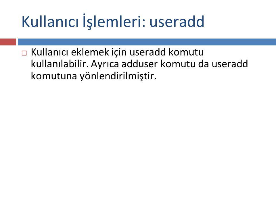 Kullanıcı İşlemleri: useradd
