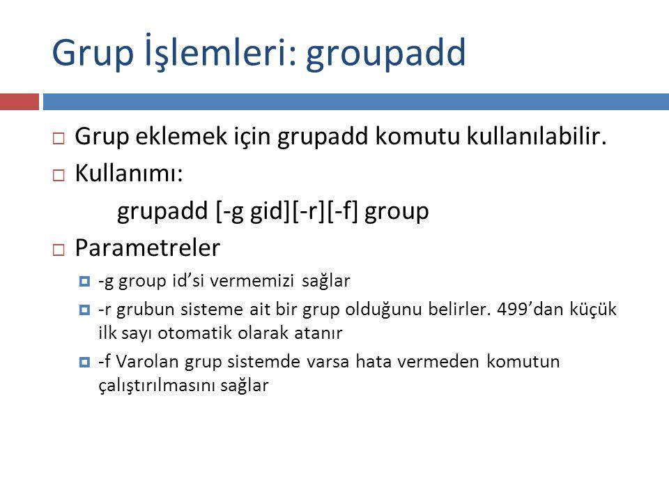 Grup İşlemleri: groupadd
