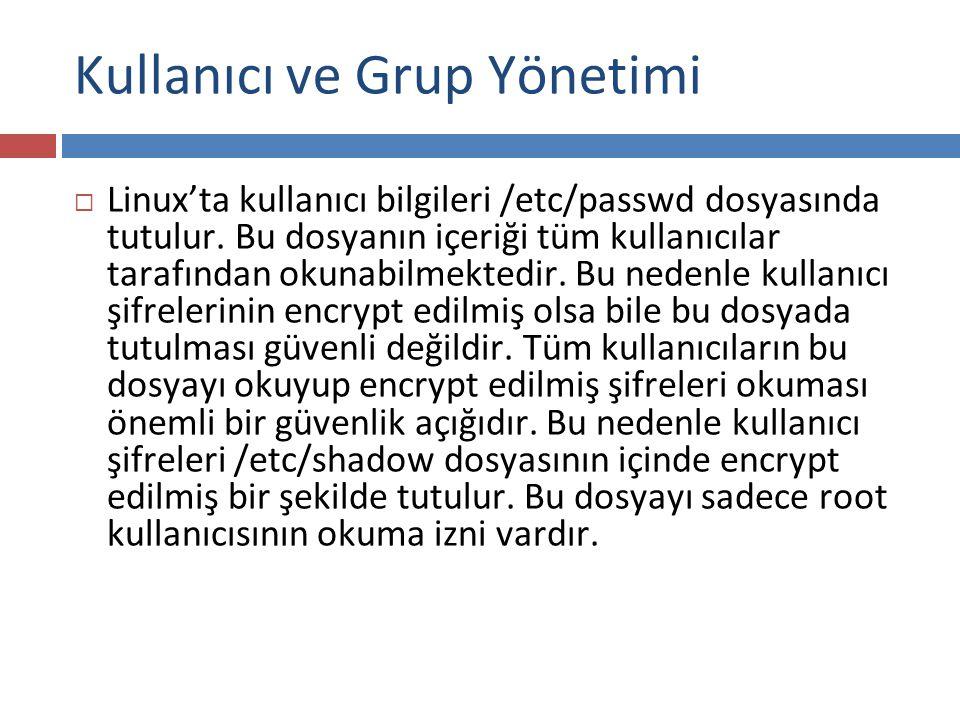 Kullanıcı ve Grup Yönetimi