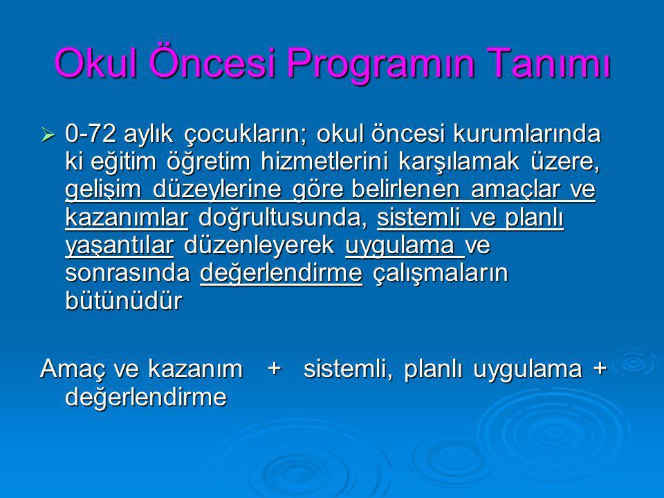 Okul Öncesi Programın Tanımı