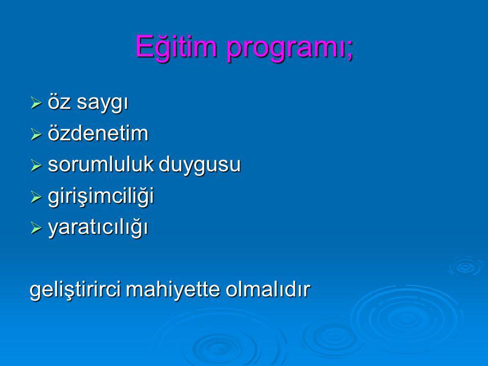 Eğitim programı; öz saygı özdenetim sorumluluk duygusu girişimciliği