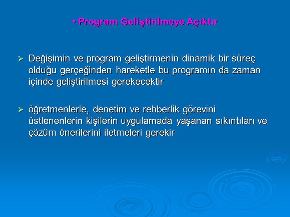 • Program Geliştirilmeye Açıktır