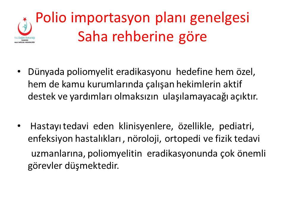 Polio importasyon planı genelgesi Saha rehberine göre
