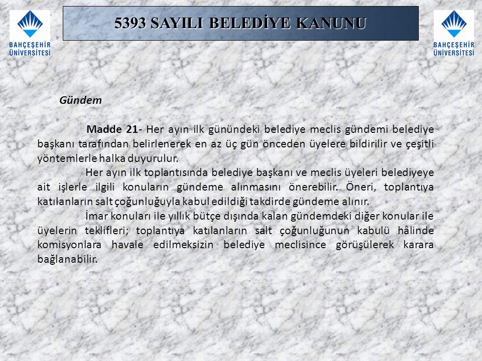 5393 SAYILI BELEDİYE KANUNU