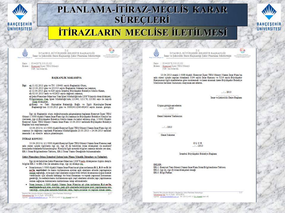 PLANLAMA-İTİRAZ-MECLİS KARAR SÜREÇLERİ İTİRAZLARIN MECLİSE İLETİLMESİ