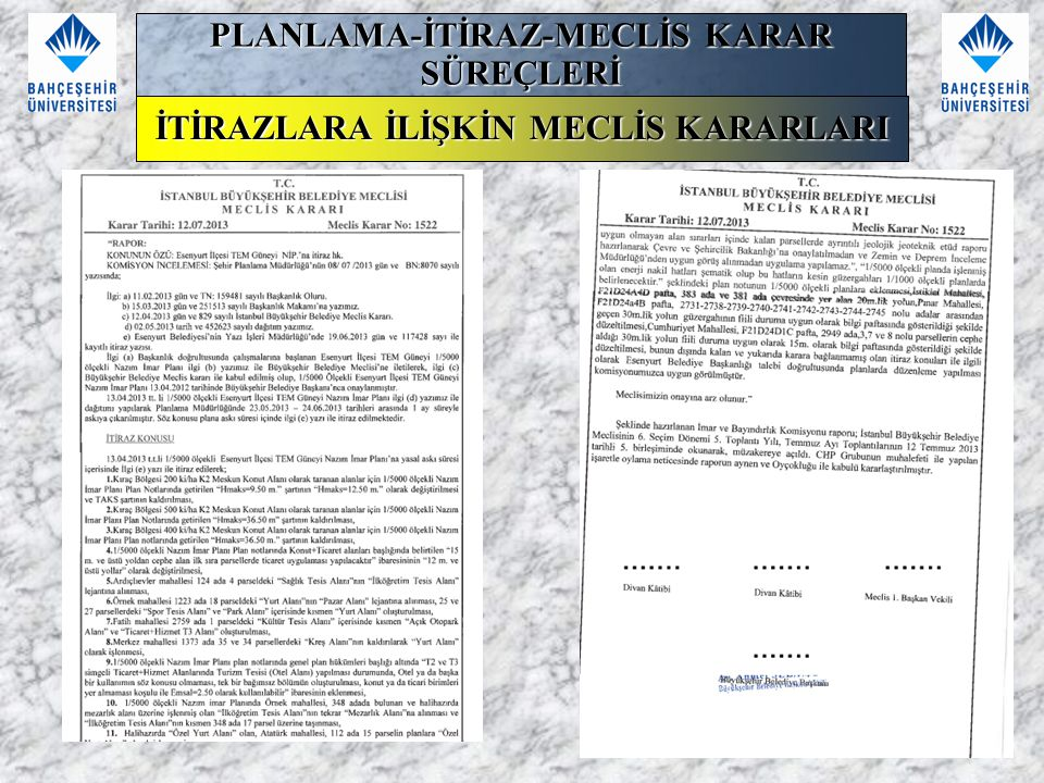 PLANLAMA-İTİRAZ-MECLİS KARAR SÜREÇLERİ