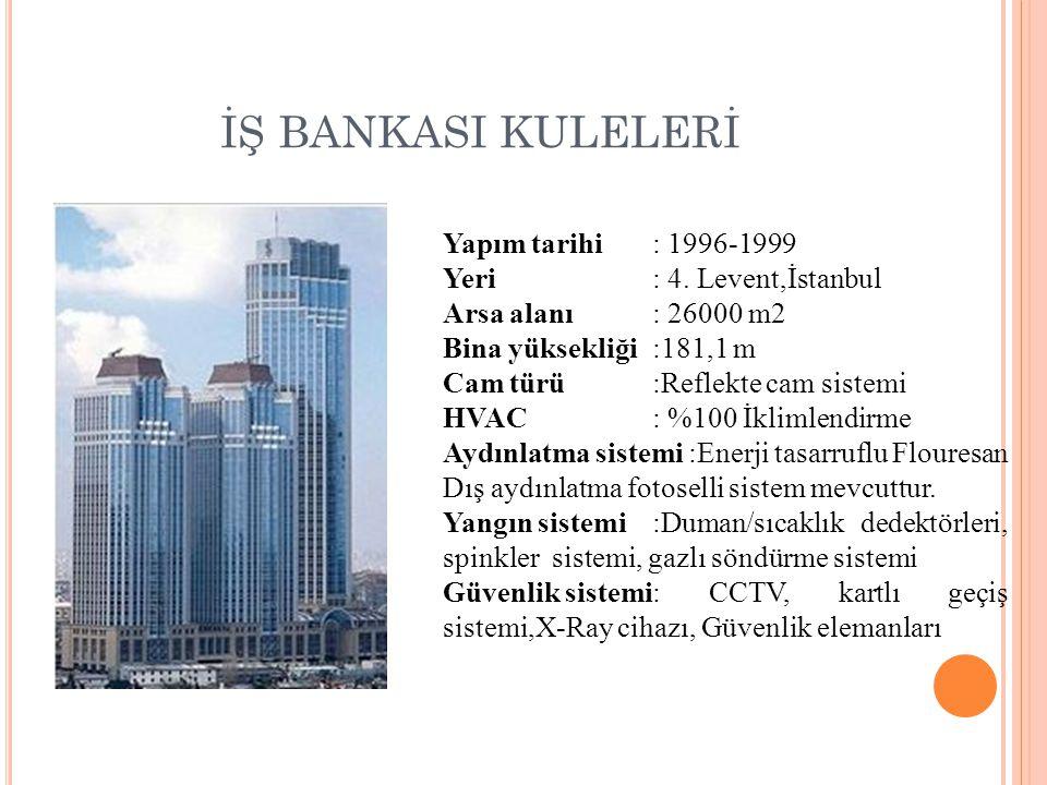 İŞ BANKASI KULELERİ Yapım tarihi : 1996-1999 Yeri : 4. Levent,İstanbul