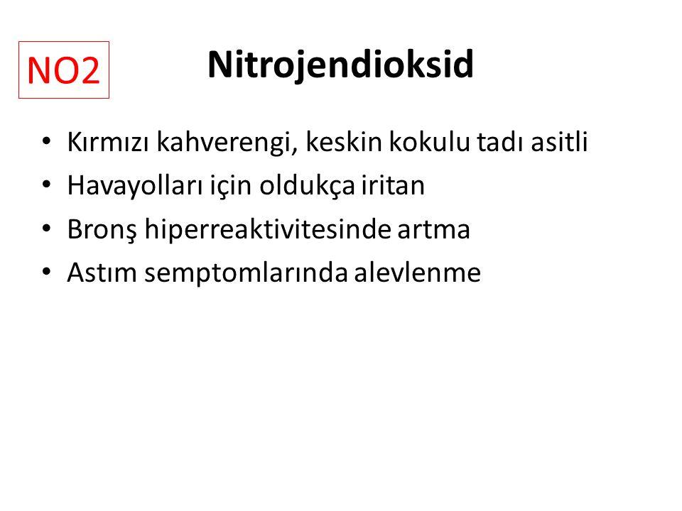 Nitrojendioksid NO2 Kırmızı kahverengi, keskin kokulu tadı asitli