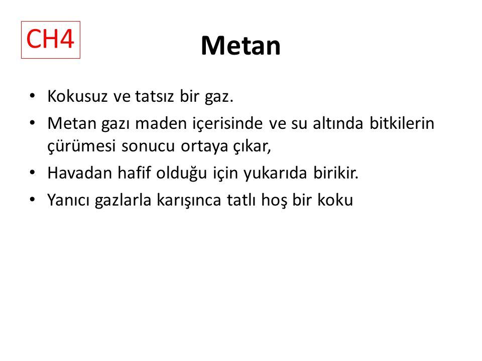 Metan CH4 Kokusuz ve tatsız bir gaz.
