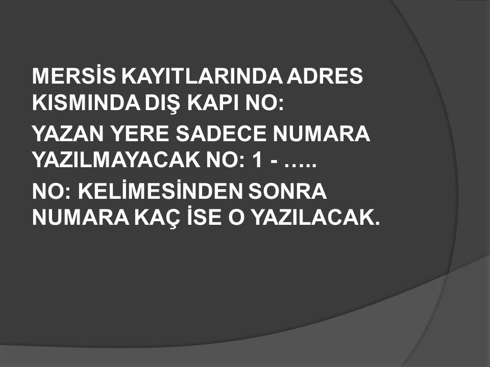 MERSİS KAYITLARINDA ADRES KISMINDA DIŞ KAPI NO:
