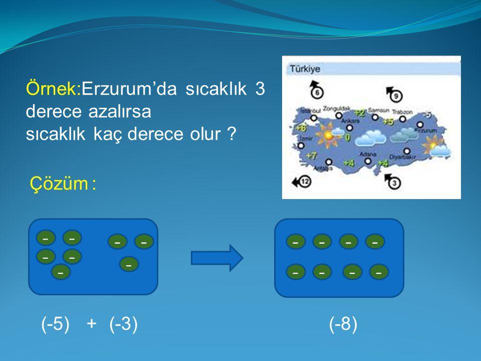 Örnek:Erzurum'da sıcaklık 3 derece azalırsa