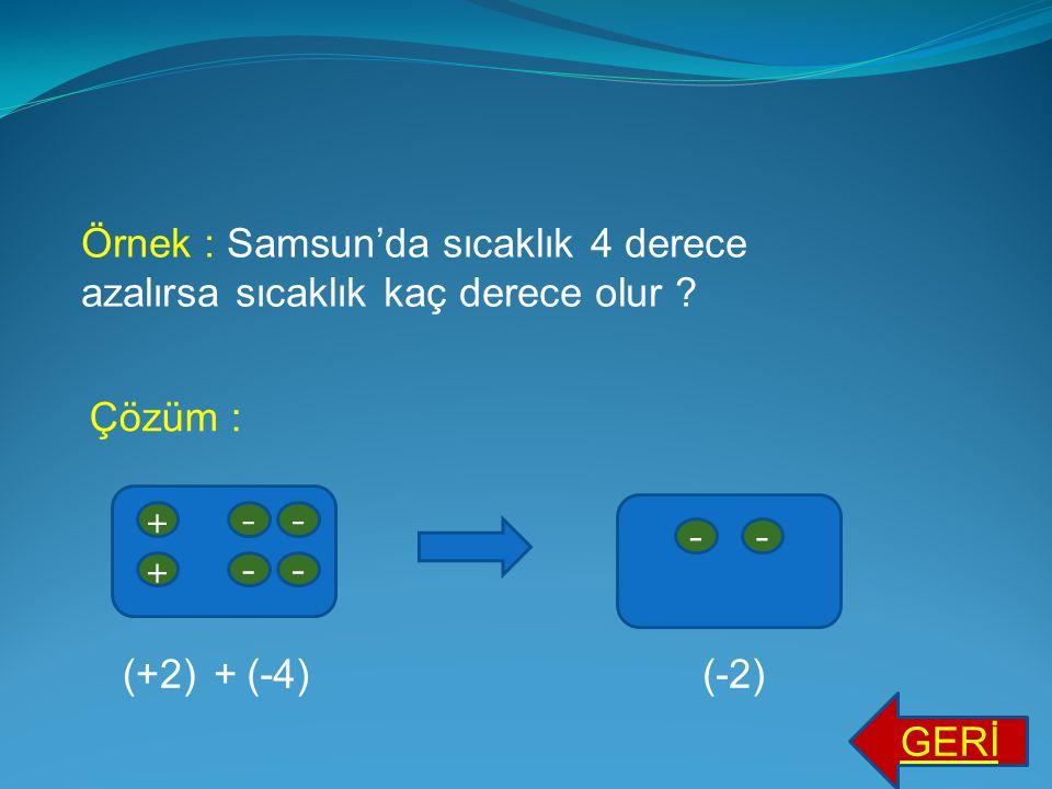Örnek : Samsun'da sıcaklık 4 derece azalırsa sıcaklık kaç derece olur
